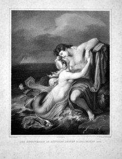 Franz Seraph Hanfstaengl (1804-1877), Lithographie, Der Fischer, nach Hanson, D1663