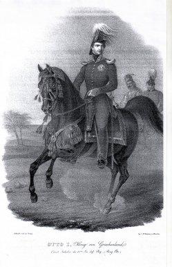 Gustav Kraus (1804-1852), Otto I. von Griechenland mit Generalstab, Lithographie, A0109.jpg
