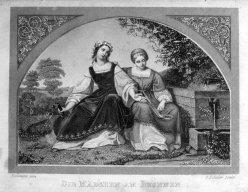 Carl August Schuler (1804-1859), Stahlstich, Die Mädchen am Brunnen, nach Bendemann, A0119