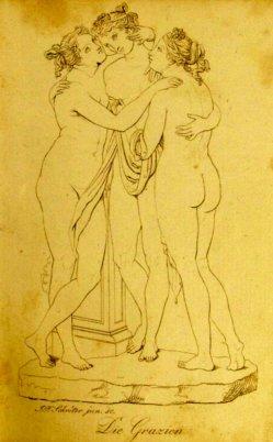 Johann Friedrich Schröter jun. Kupferstich, Die Grazien, nach Canova, A0114