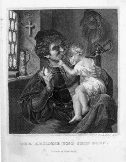Stahlstich, Der Krieger und sein Kind, nach Hildebrandt, A0116