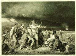 William French (1815-1898), Stahlstich, Landleute vom Gewitter überrascht, nach Becker (von Worms), D1178