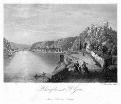 Johann Jakob Tanner (1807–1862), Rheinfels und St. Goar, Aquatinta Radierung nach Tanner, D1261