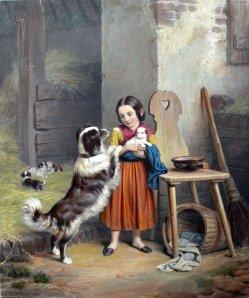 Mütterliche Besorgnis, Farblithographie, nach F.E.Meyerheim, D1761