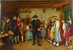 Benjamin Vautier (1829-1898), Die erste Tanzstunde, Porzellanmalerei, Bildplatte, D2134