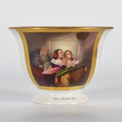 Die Andacht, Kloster Malchow, Frl.de Rohr, Porzellanmalerei, Tasse und Untertasse, D2130