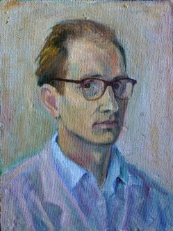 Dieter Borchhardt, Selbstporträt 1960, Öl-Hartfaser, 49x37cm