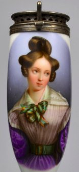 Joseph Lemercier (1803-1887), Portrait Henriette Sontag, Porzellanmalerei, Pfeifenkopf, D2128