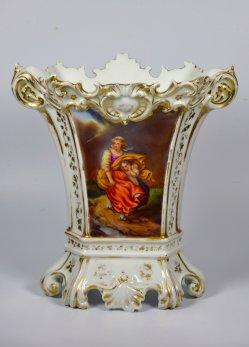 Nahendes Gewitter im Sturm, Porzellanmalerei, Vase, D2124