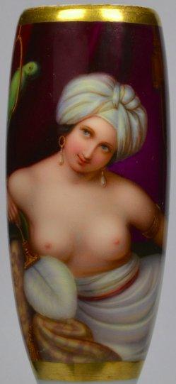 Odaliske mit Papagei, Porzellanmalerei, Pfeifenkopf, D2129
