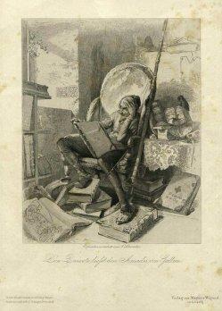 Adolf Schroedter (1805-1875), Radierung, Don Quixote ließt den Amadis von Gallien, A0106