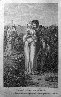 Carl August Schwerdgeburth (1785-1878), Kupferstich, Faust – Szene im Garten, nach G.H.Naeke, A0167