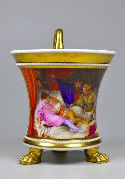"""Ferdinand Theodor Hildebrandt (1804-1874) """"Die Söhne Eduards"""", Porzellanmalerei, Tasse, D2148"""