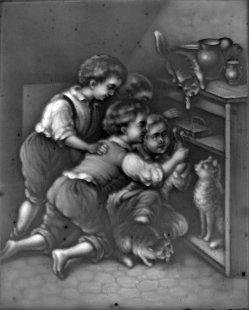 HPM 430 - Mit Katzen spielende Kinder