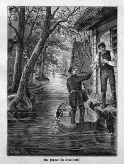 Postbote im Spreewald um 1885, A0146