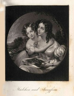 Carl Kotterba (1800-1859), Mädchen und Jungfrau, Stahlstich nach J.Wood, A0180