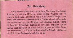 Porzellan-Manufaktur und Pfeifenfabrik Engler, Linz a.D. Preis-Kurant um 1900, D0974-Einlage