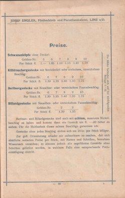 Porzellan-Manufaktur und Pfeifenfabrik Engler, Linz a.D. Preis-Kurant um 1900, D0974-S 33