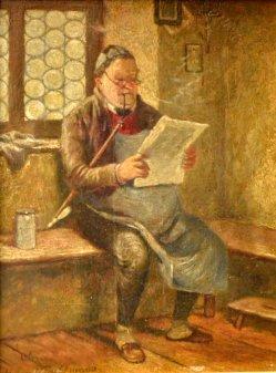Hugo Wilhelm Kauffmann (1844-1915), Gemälde, Zeitungsleser mit langer Gesteckpfeife, D1990