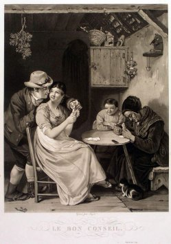 Jean-Pierre Marie Jazet (1788-1871), Le Bon Conseil, Aquatinta-Radierung, A0172