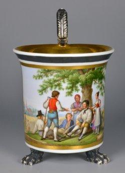 Mittagspause der Schnitter, Porzellanmalerei, Tasse, D2171