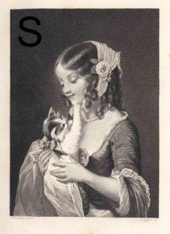 Motiv Lithophanie KPM 458, Unschuldige Liebe, Stahlstich nach Brochart, A0169