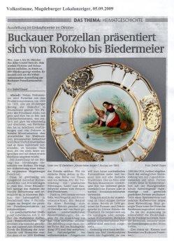 05.09.2009 Buckauer Porzellan präsentiert sich vom Rokoko bis Biedermeier