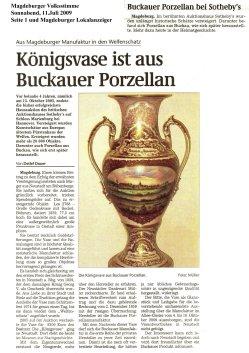 11.07.2009 Königsvase ist aus Buckauer Porzellan