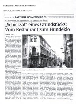 16.04.2009  Volksstimme Magdeburg