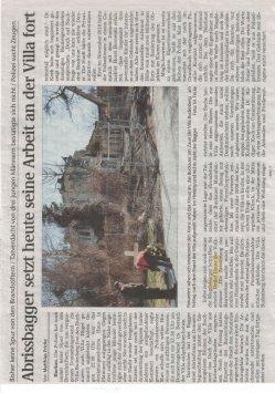 21.03.2011 Volksstimme - Abrissbagger setzt heute seine Arbeit an der Villa fort