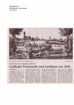 23.07.2011 Gepflegte Promenade und Landhaus um 1830