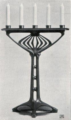 Albin Müller, Kerzen-Leuchter in Gusseisen 1904