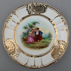 Bruder und Schwester, Porzellanmalerei, Zierteller, D0736-08