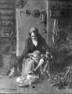 Lithophanie, Meißen 237 - Die Kätzchen nach Meyerheim