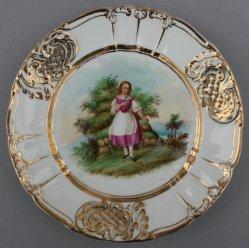 Mädchen mit Vergissmeinnicht, Porzellanmalerei, Zierteller, D0736-11