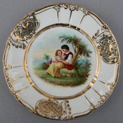 Mutter und Kind mit Blumen, Porzellanmalerei, Zierteller, D0736-09