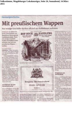14.03.2015 Mit preußischem Wappen