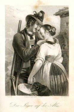 Albert Henry Payne (1812-1902), Der Jäger auf der Alm, , Stahlstich nach C. Mayer, A0195