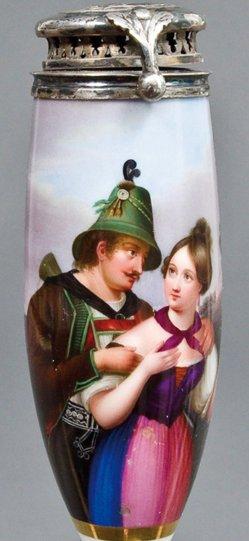 Carl Mayer (1798-1868), Der Jäger auf der Alm, Porzellanmalerei, Pfeifenkopf, B0306