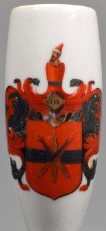 Freundschafts-Porzellanpfeife mit Wappen, Porzellanmalerei, Pfeifenkopf, D2195