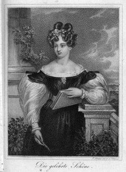 """Ignaz Krepp (1801-1853), """"Die gelehrte Schöne"""", Kupferstich, A0186"""