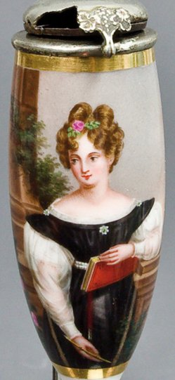 """Ignaz Krepp (1801-1853), """"Die gelehrte Schöne"""", Porzellanmalerei, Pfeifenkopf, B0059"""