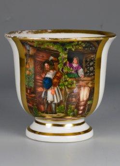 Wilhelm Nerenz (1804-1871),Des Burschen Heimkehr, Porzellanmalerei, Tasse, D2201