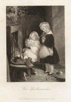 Albert Henry Payne (1812-1902), Die Spielkameraden, Stahlstich nach Landseer, D2230