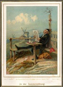Friedrich Wilhelm Heinrich Theodor Hosemann (1807-1875), Farblithographie, In der Sommerwohnung, D2233