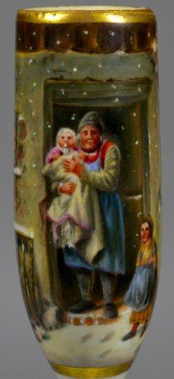Georg Friedrich Bischoff (1819-1873), Der erste Schnee, Porzellanmalerei, Pfeifenkopf, D2231