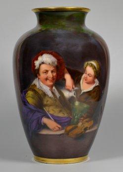 Willem van Mieris (1662-1747), Der lustige Zecher, Porzellanmalerei, Vase, D2212