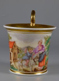 Ziegenritt, Porzellanmalerei, Tasse, D2248