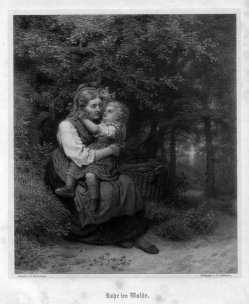 A. Lüttmann, Ruhe im Walde, Lithographie nach Schlesinger, D2263-1