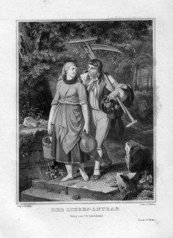 Constantin Müller, Der Liebes-Antrag, Stahlstich nach Becker von Worms, D2255